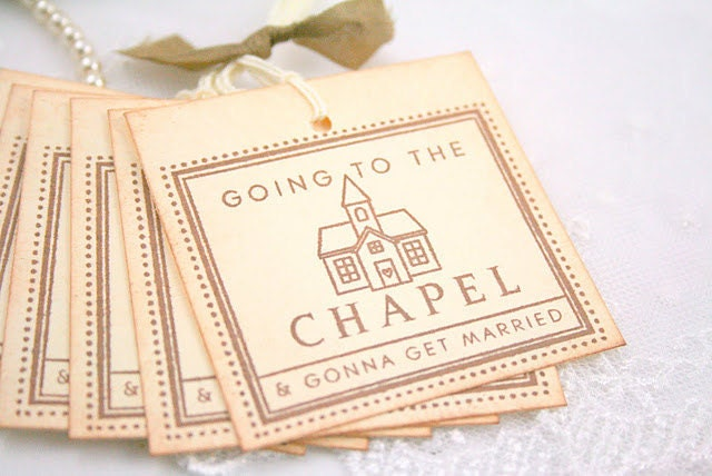 Wedding Tags Favor Gift Tags Going to the Chapel Vintage Stamped