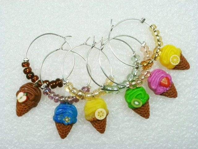 Wine Charms. Ice Cream Theme. Set of 6.