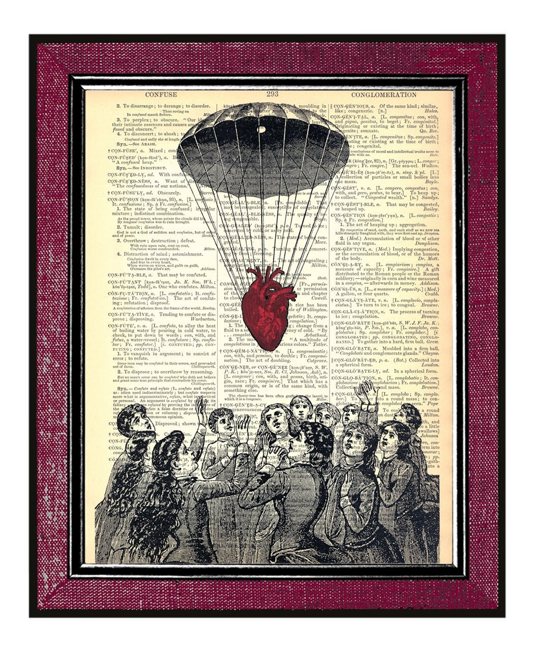 Valentines Day Gift HEART DESCENDING Steampunk Print On Book Page Dictionary Art Print Vintage Dictionary Page Altered Book Page