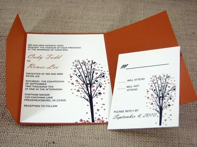 Wedding Invitation Heart Tree Set of 25 From imagdesigns