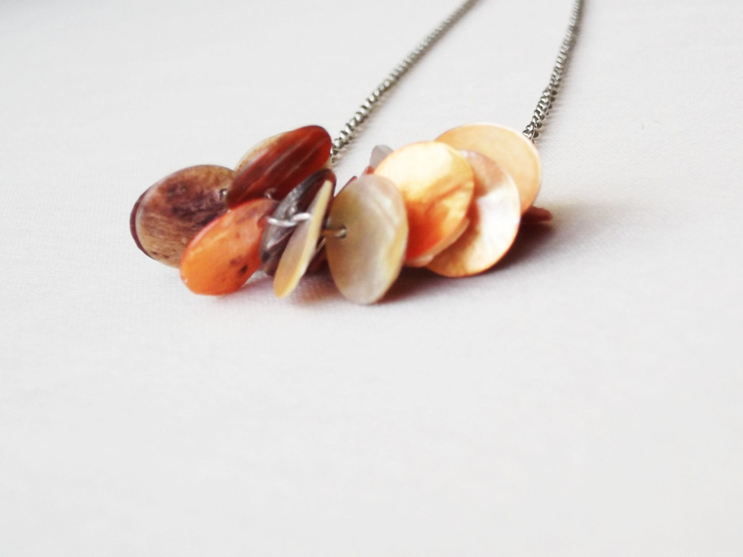 SHOP CLOSiNG ALL HALF PRiCE - Burnt Orange Mother Of Pearl Necklace - CustomMadeForAll