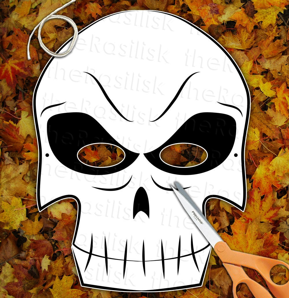 Scary Skeleton Skull Mask  Printable PDF by theRasilisk on Etsy from etsy.com
