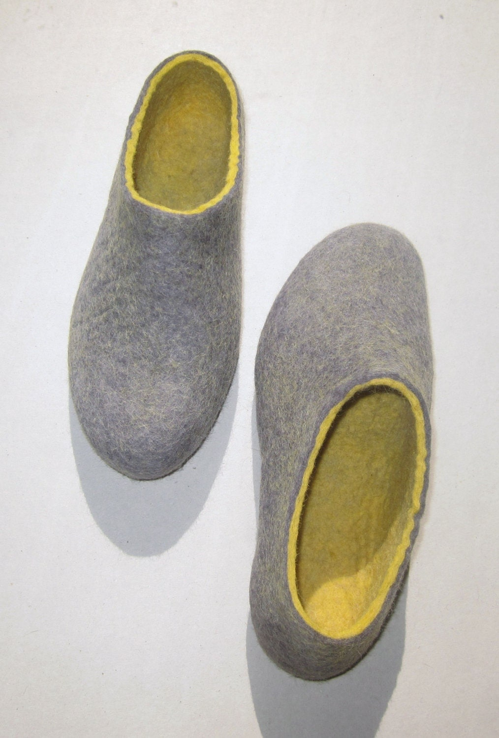Eco friendly Felted slippers Amber Grey Pebble.  In Case of Cold Feet Custom made All WOMEN sizes. - ekohaus