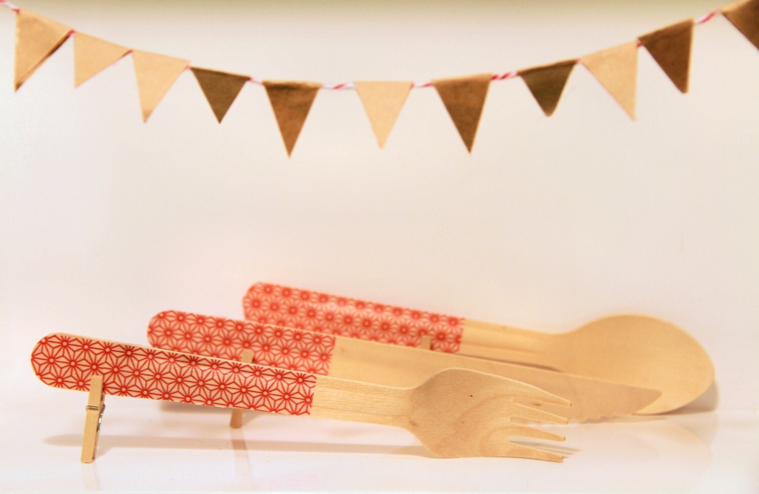 Clothed Cutlery in Red Starflakes - Disposable Washi-Patterned Wooden Forks, Spoons or Knives (A Dozen) - Gloriousmess