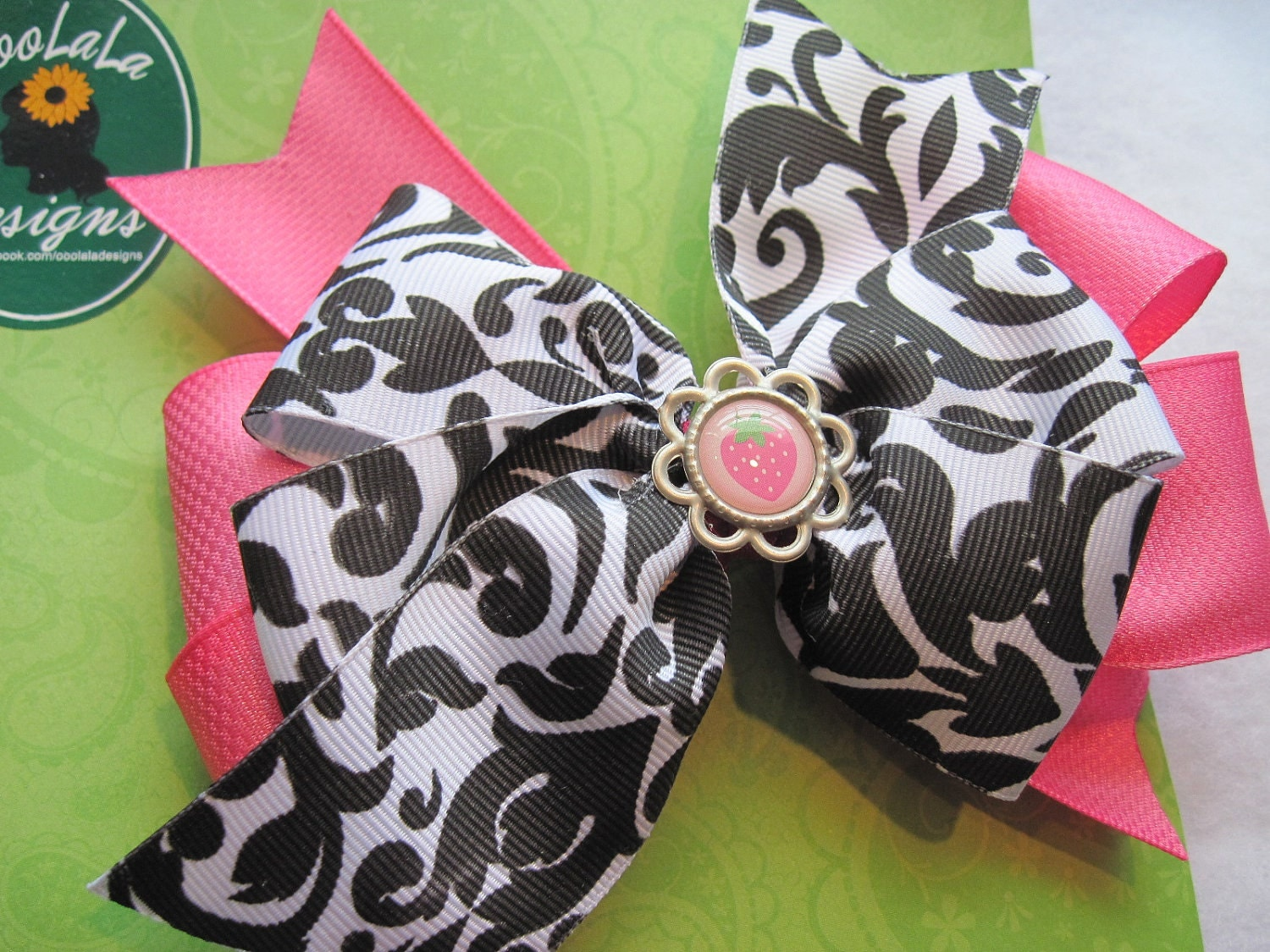 Children's Black and Pink Hair bow with Strawberry Center Accent