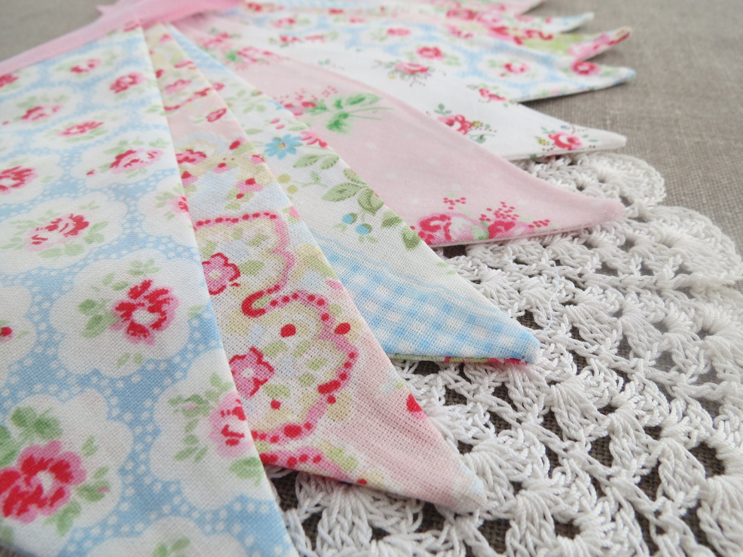 Pretty Shabby Chic Party Bunting - CATHS FLOWERS - A string of pretty floral flags for Happy Celebrations - LittleKittenHomemade