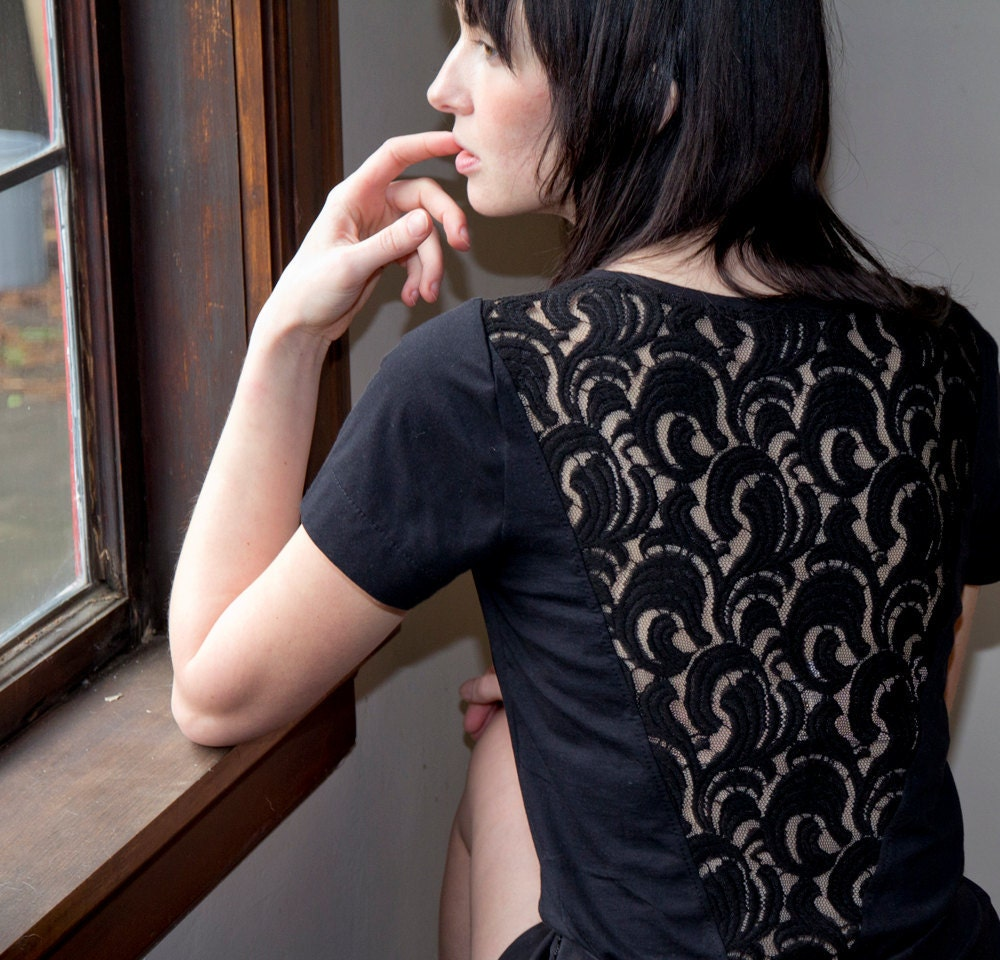 Night Black Lace Tunic - sheer back with boatneck cut, bohemian vintage style - small - Minxshop