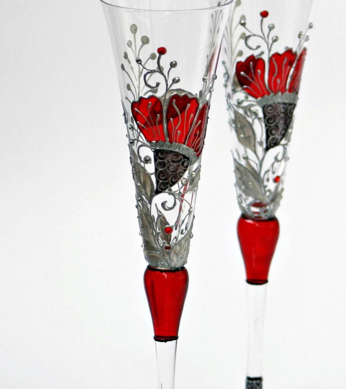Свадебные тосты шампанское флейты Ручная роспись-Потрясающие цвета дизайн красный, серебристо-белый и черный