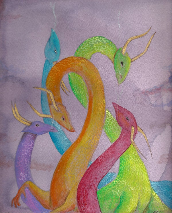 Colorful Dragon Clutch Wine Acrylic Fantasy OOAK Art Painting 8x11""