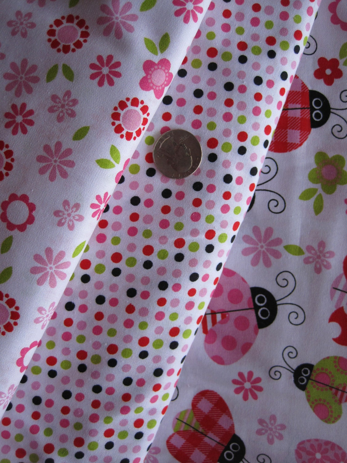Super Cute multi color Flower that coordinates with the Ladybug Fabric