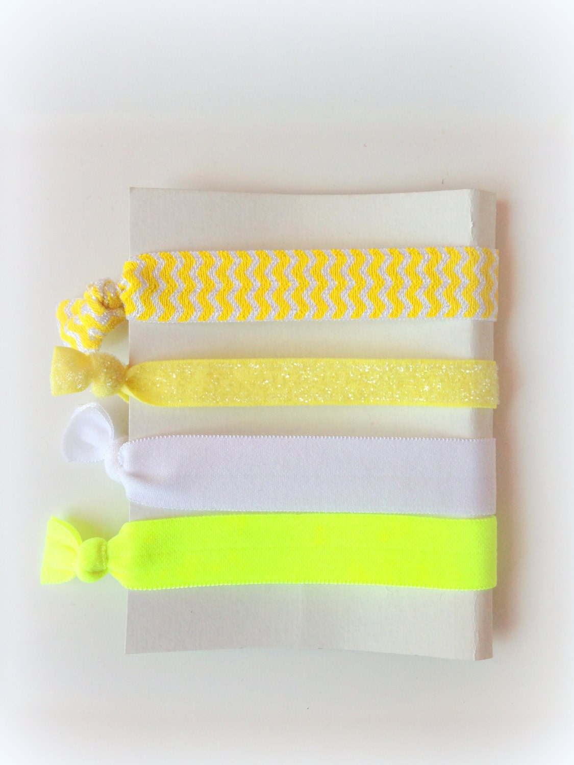 Hair Ties, Set of 4 hair ties, Yellow Hair Ties, Chevron Hair Ties, FOE, Girl Hair Accessories, Elastic Ponytails - PandiAccessories