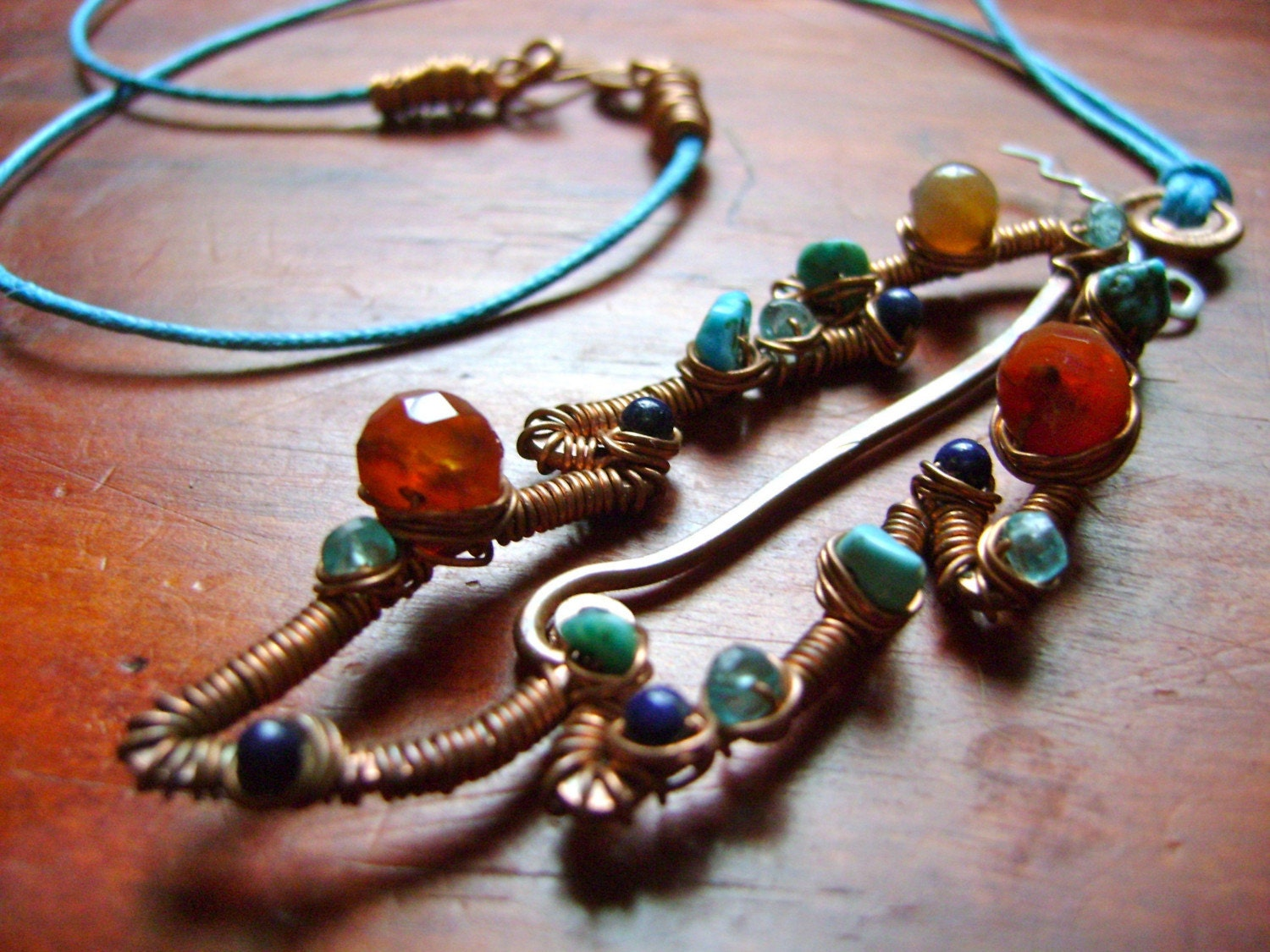 Earth Native Feather Necklace. Copper, Turquoise, Lapis Lazuli, Carnelian, Apatite, Fancy Jasper. Jewelry by FullSpiral on Etsy