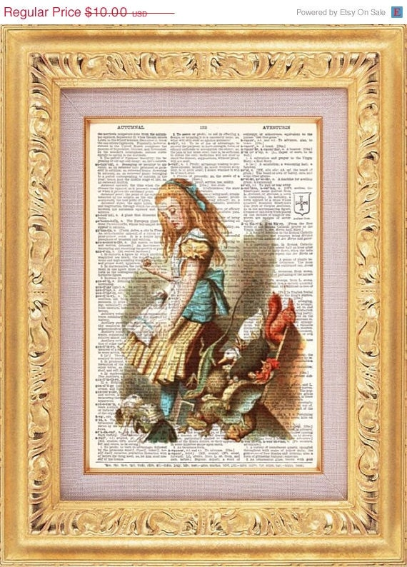 Alice In Wonderland vintage dictionary book page art print beautifully UpCycled 8x10