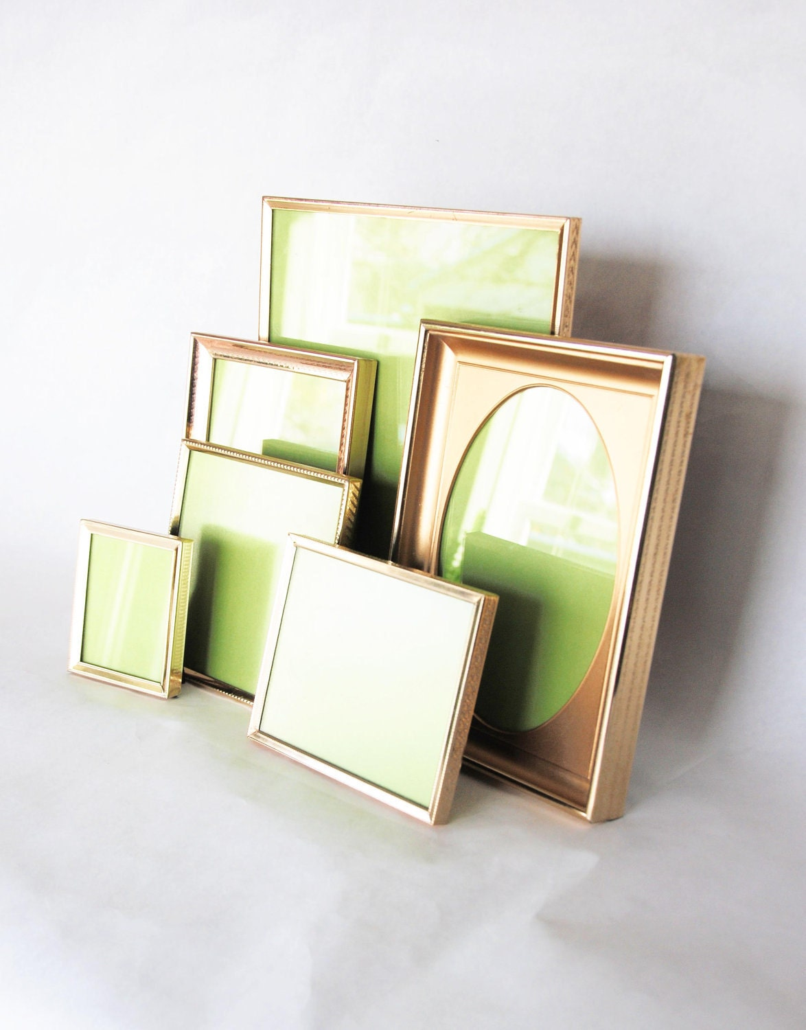 Gold Metal Picture Frames Set of 6 Instant Collection Vintage Retro