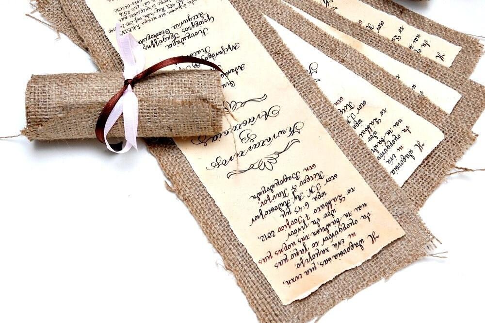 mariages r tro un faire part en papier ancien et toile de jute. Black Bedroom Furniture Sets. Home Design Ideas