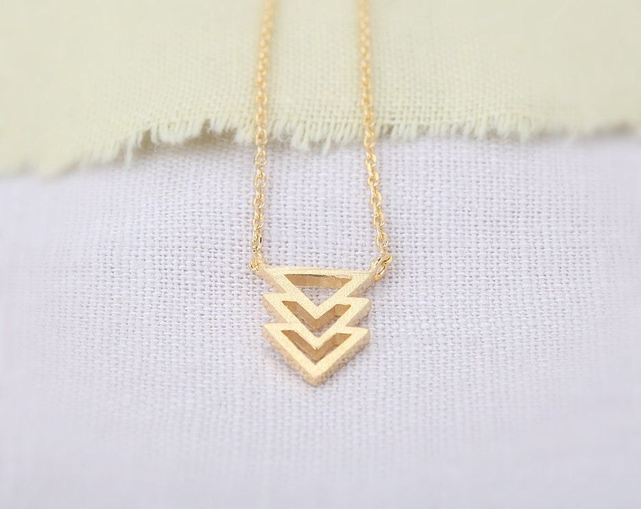 Triangles Necklace - Gold // N071-GD // Triangles Necklace,pendant necklaces,trendy necklaces,cool necklaces,fashion necklaces