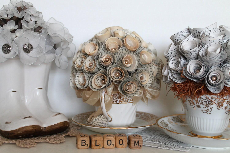 Upcycled Flower Arrangement Swarovski Pearl Beads Paper Handmade Paper Roses Tea Cup Jane Austen Sculptural Art Home Decor