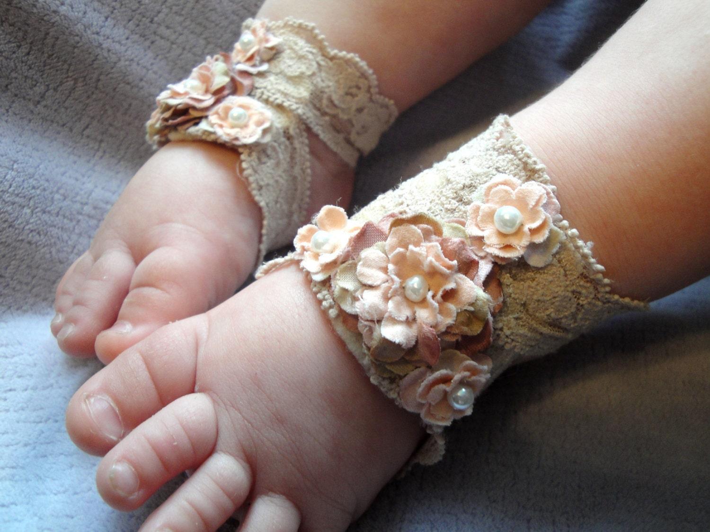 Baby Sandals, Baby Shoes, Barefoot Blossom (TM) Antique Lace - PetalnPearlBoutique