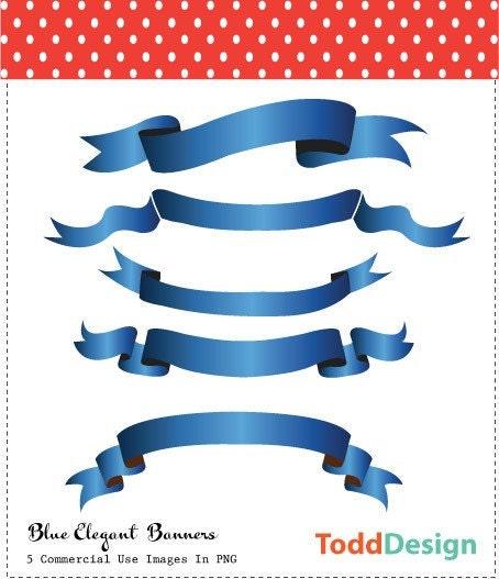 Blue Elegant Banners Digital Clip Art for wedding invitations