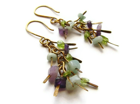 Gemstone Cascading Brass Earrings in Rustic Style with Amethyst, Peridot, and Amazonite - Iris Bloom - heversonart