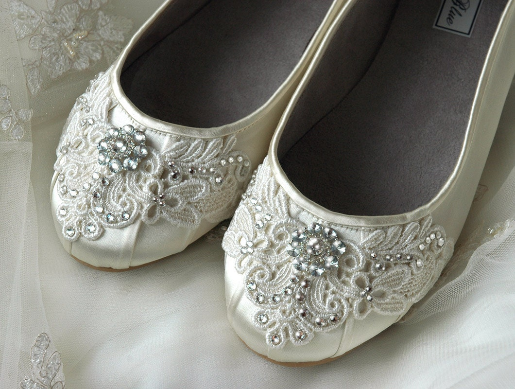 Wedding Shoes - Ballet Flats, Vintage Lace, Swarovski Crystals, Belle-Women's Bridal Shoes