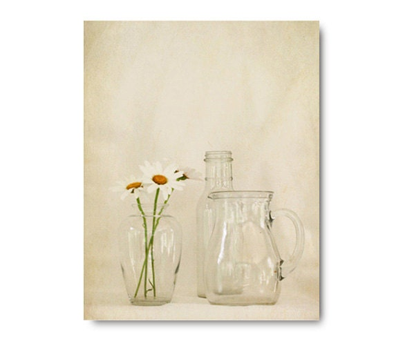 Daisies and Glass, summer flower, still life, clear, white, daisy, monotone, grey, cream, pitcher, bottle, vase, simple