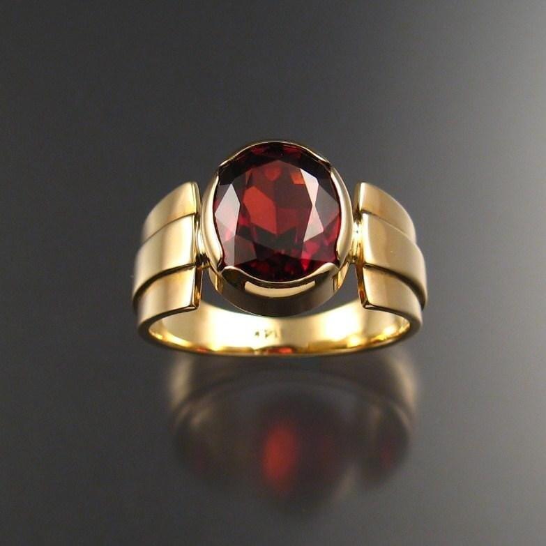 Garnet men's ring, 14k Gold, size 9
