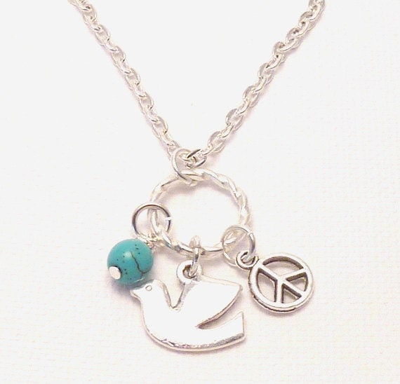 Dove, Peace Sign, & Turquoise Necklace,yoga jewelry,wrapped, wrapping