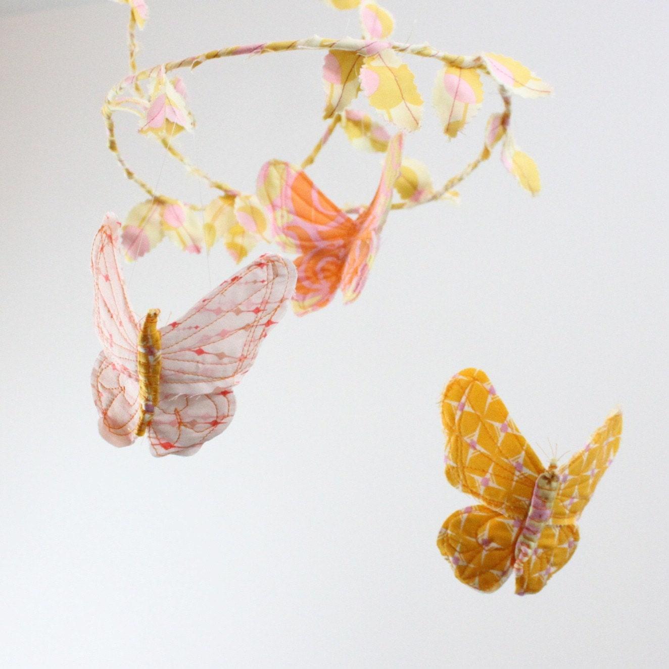 CUSTOM Butterfly Mobile - handmade fabric mobile for Nursery Decor