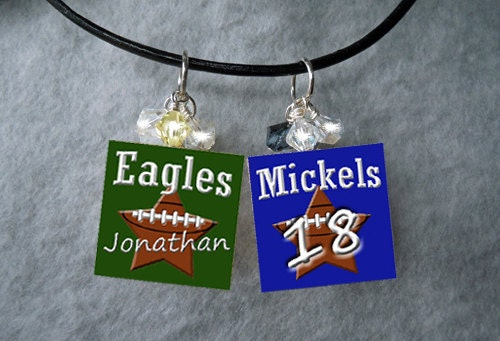 Football Necklace W/ CHILDS NAME Includes Sparkly Crystals