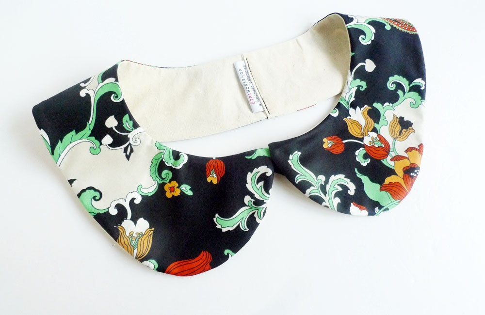 peterpan collar - chinese floral - jade & black