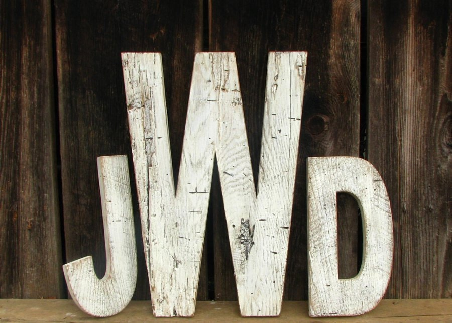 Rustic Barn Wood Wedding Letters -Three Custom Painted Distressed Letters - SecondNatureWoodwork