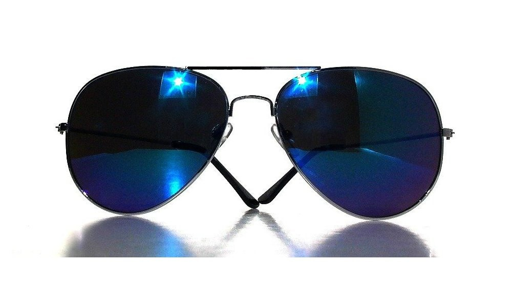 Cobalt Blue Mirrored Aviators, Vintage Aviator Sunglasses, Black Frame, Spring 2013, Small Size, Unisexxxy Men Women