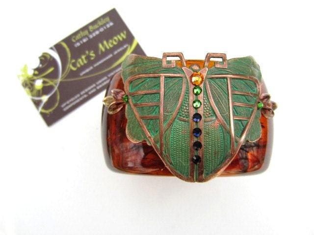 Deco style lucite bangle bracelet - cathybuckleycatsmeow