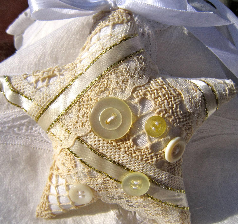 Белый и слоновая кость Потертый Звезда набор из двух