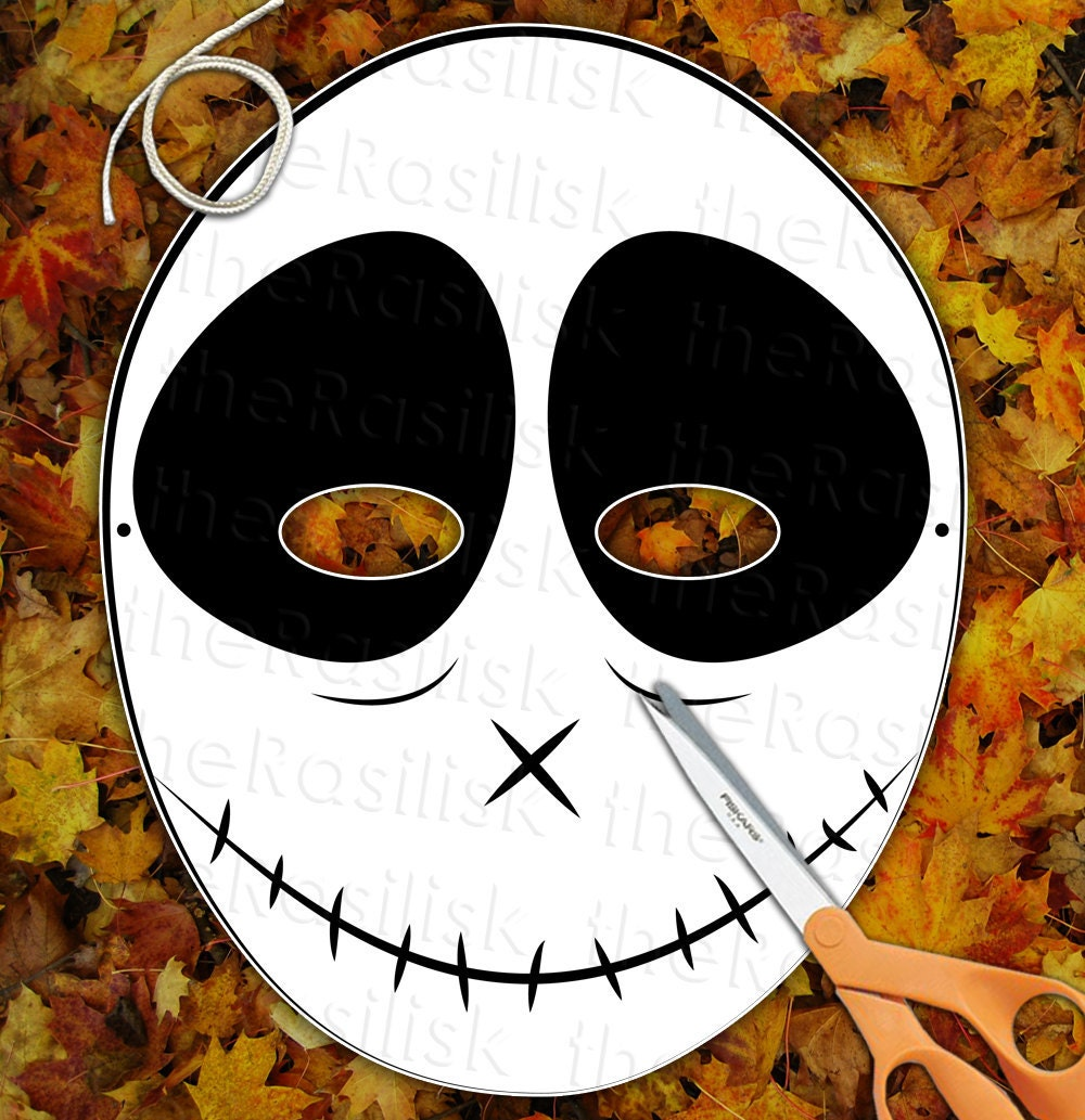 Happy Skeleton Skull Mask  Printable PDF by theRasilisk on Etsy from etsy.com