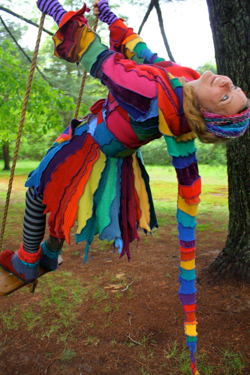 Upcycled Sweater Tutorial - Rainbow Pixie Coat