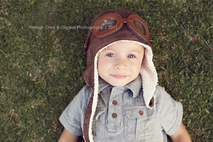 AVIATOR Pilot Hat w/ Faux Goggles Toddler Childrens Photography Prop Movie UP Steampunk Styled Cap Perfect Accessory to Your Prop OBSESSION - LeightonHeritage