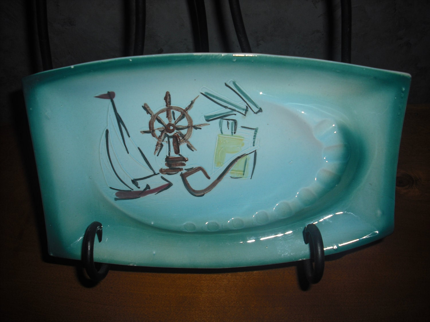 Vintage -Handmade-Retro- Top Table Ship-Ceramic- Ashtray