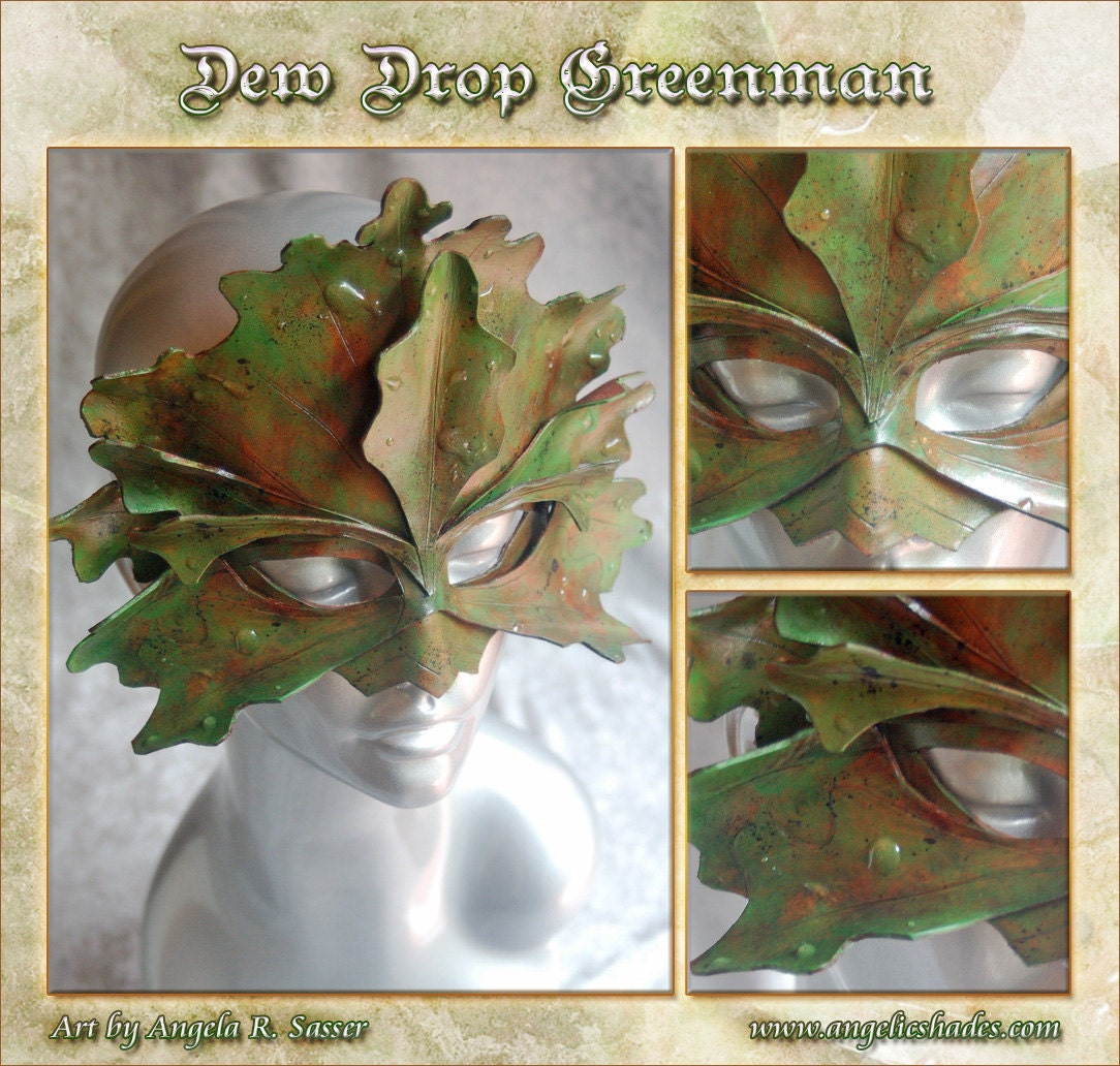 MADE TO ORDER - Dew Drop Green Man Leather Mask - angelicshades
