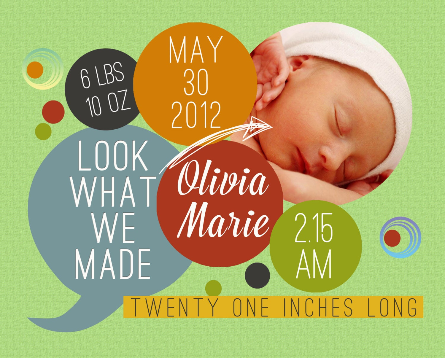 Custom Digital Baby Boy or Baby Girl Photo Birth Announcement, 5x7 PRINTABLE - BA7: Look What We Made