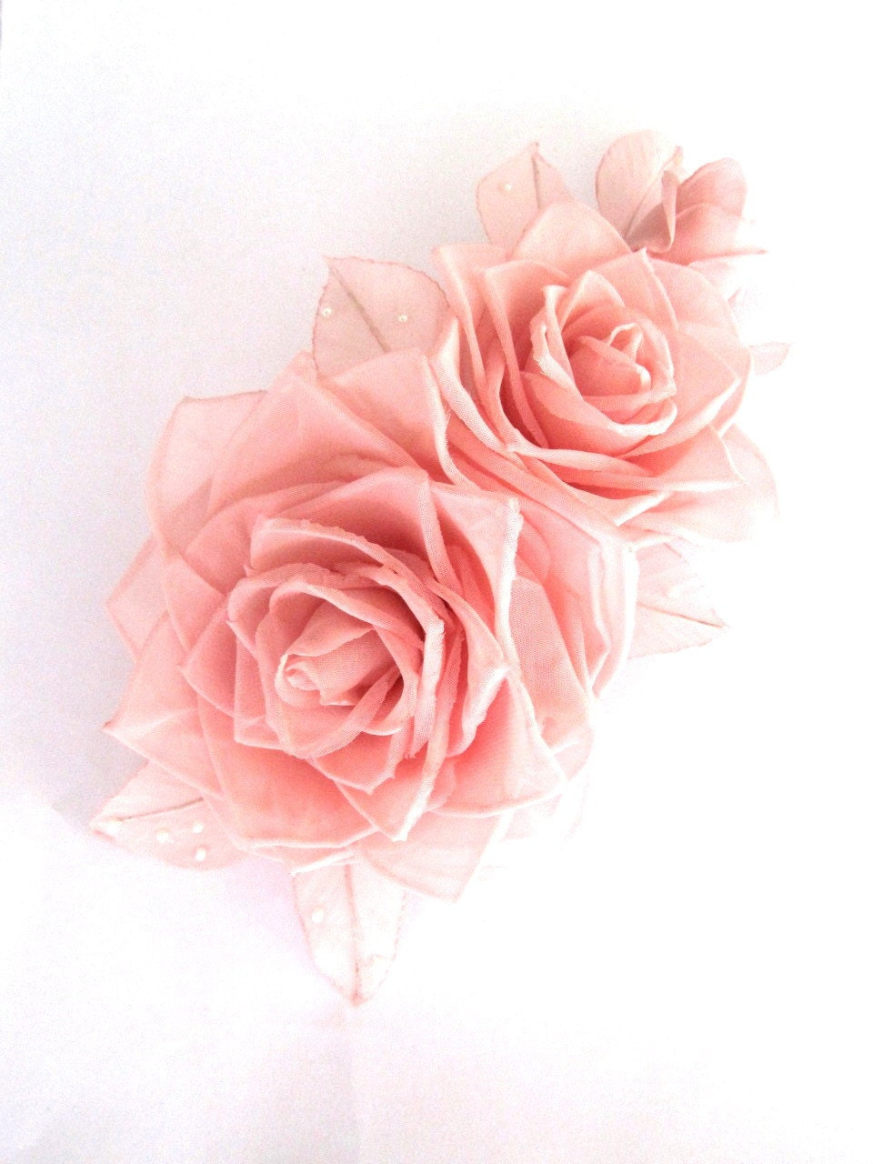 Soft pink roses hair clip - JewelryWithTaste