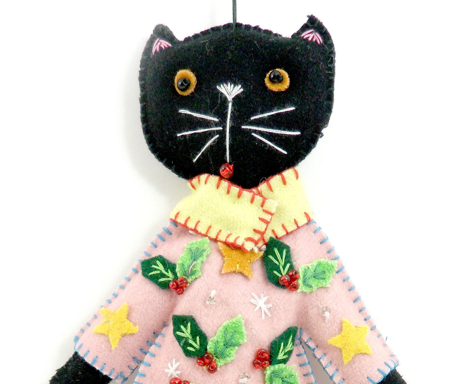 10 Inch Christmas Pink Coat Holiday Cat Doll Felt Applique Ornament