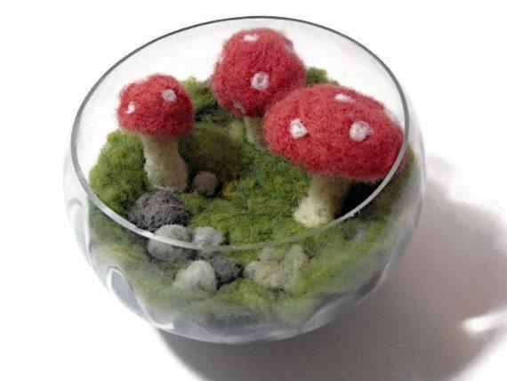Mushroom Terrarium OOAK Needle Felted Non Living Terrarium Amanita Muscaria Fly Algeric