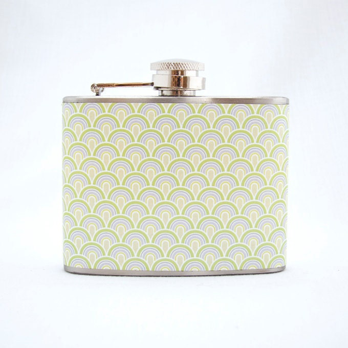 Retro Flask : Art Deco Pattern, 4 oz Stainless Steel Flask, Green, Velour Bag Included - jForms