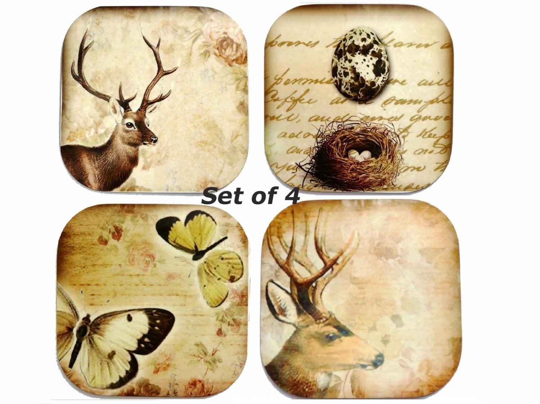Butterfly Coaster, Deer Coasters, Bird's Nest Coaster, Set of 4, Nature, Animal, Shabby Chic - missbohemia