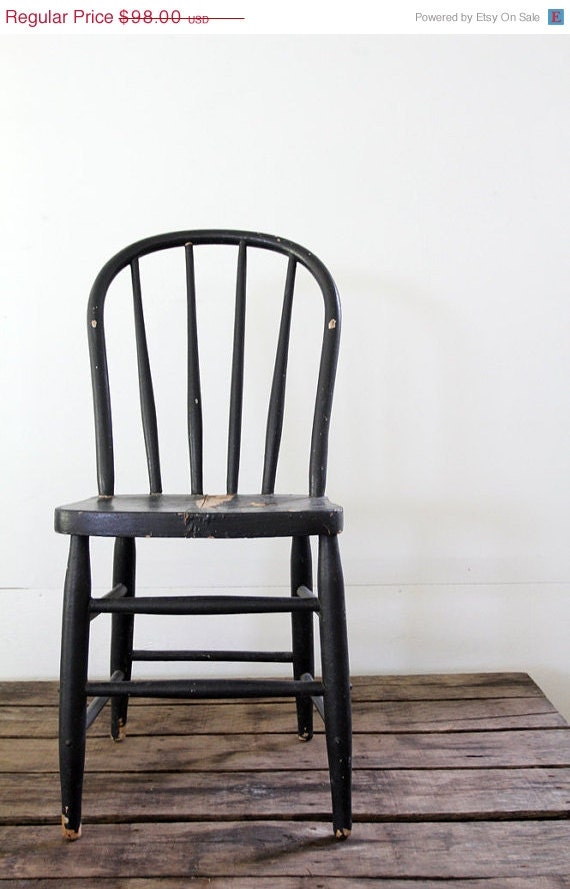 SALE Black Wood Chair // Antique Spindle Chair - 86home