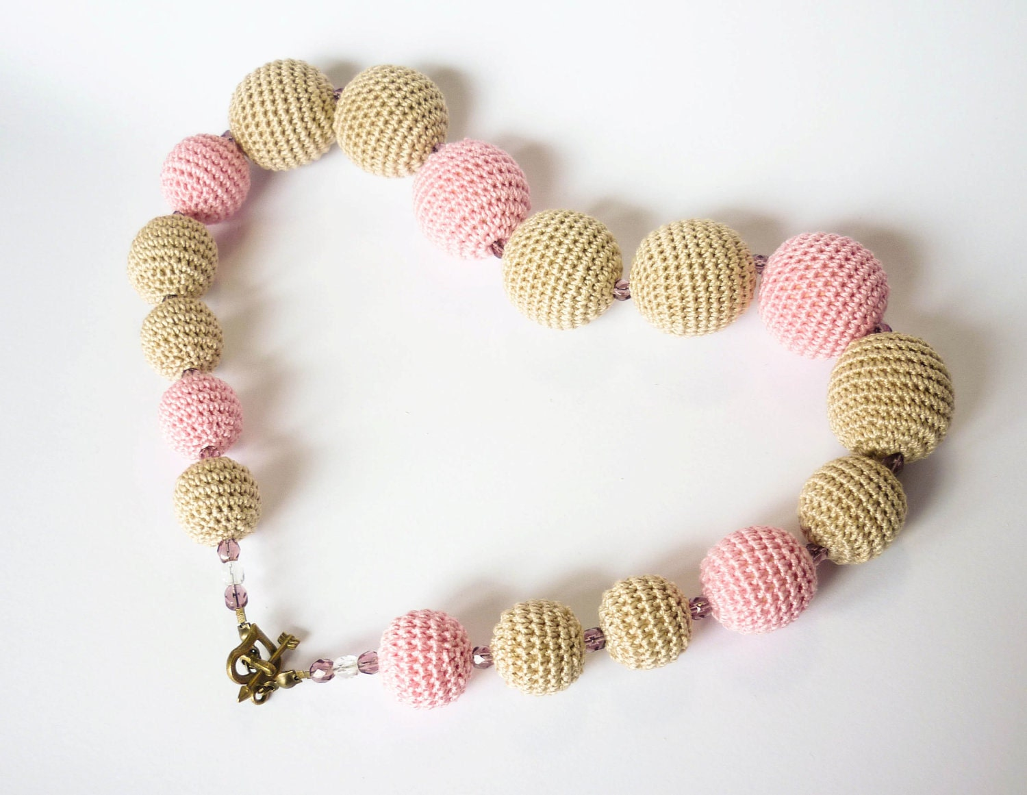 Beige and Pink crochet necklace - Crochet beads necklace - Beige and Pink - For Mom - Under 50 - JanesBeautyStore