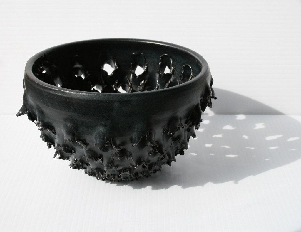 Gunmetal Black Stoneware Vessel : Dramatically Pierced Clay Sculpture - rdboyer
