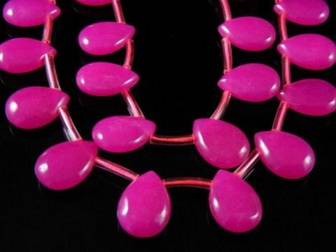 4pc - Pink Jade Beads, Smooth Drop, 14x10x5mm